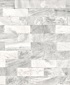 Graham & Brown Herringbone Marble Tile White Wallpaper