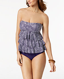 Island Escape Mikonos Beach Tiered Tankini Top & High-Waist Bottoms, Created for Macy's