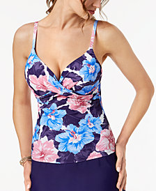 Island Escape Waikiki Paradise Printed Underwire Push-Up Tankini Top, Created for Macy's