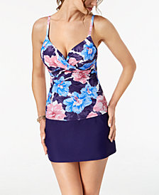 Island Escape Waikiki Paradise Underwire Push-Up Tankini Top & High-Waist Swim Skirt, Created for Macy's