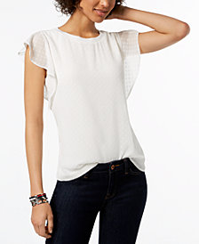 Tommy Hilfiger Flutter-Sleeve Blouse, Created for Macy's
