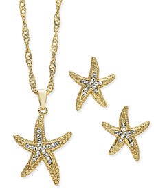 Charter Club Gold-Tone 2 Pc. Set Crystal Starfish Pendant Necklace and Stud Earrings, Created for Macy's