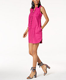 Trina Turk x I.N.C. Linen Blend Lace-Up Dress, Created for Macy's