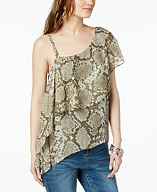 I.N.C. Snake-Print One-Shoulder Top, Created for Macy's