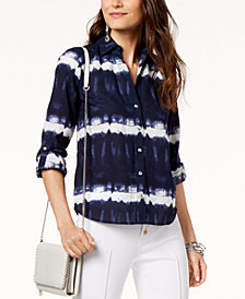 I.N.C. Petite Cotton Tie-Dye Button-Up Top, Created for Macy's