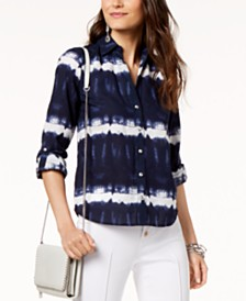 I.N.C. Cotton Tie-Dyed Utility Shirt, Created for Macy's