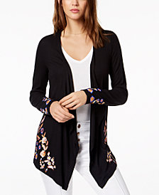 I.N.C. Embroidered Open-Front Cardigan, Created for Macy's