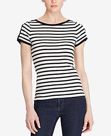 Lauren Ralph Lauren Button-Shoulder Striped Cotton Top