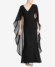 Lauren Ralph Lauren Ruffled Cape Gown