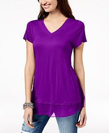 I.N.C. Layered-Look Mesh-Hem Tunic, Created for Macy's