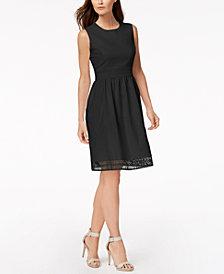 Calvin Klein Petite Lace-Trim Fit & Flare Dress