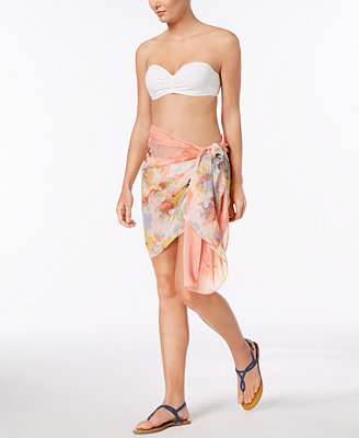 Abstract Floral Scarf & Cover Up In One by Calvin Klein