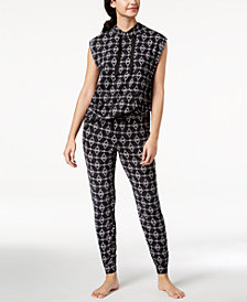 Ande Lush Luxe Printed Tunic & Jogger Pajama Pants