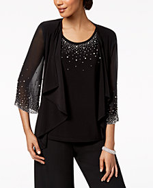 MSK Embellished Top & Draped Jacket