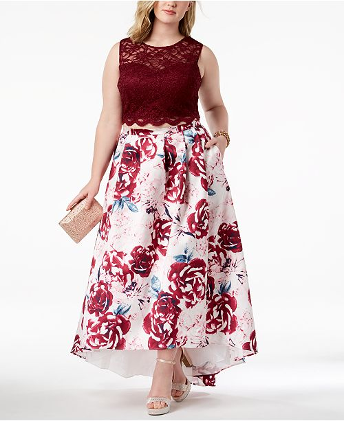 Trendy Plus Size 2-Pc. Printed Lace Gown