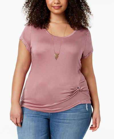 ABASIX Trendy Plus Size Twist-Front T-Shirt