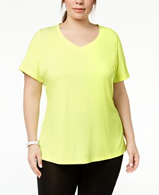 Ideology Plus Size Rapidry V-Neck Performance T-Shirt, Created for Macy's