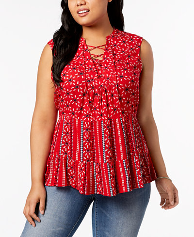 Style & Co Plus Size Printed Lace-Up Sleeveless Peasant Top, Created for Macy's