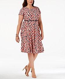 Jessica Howard Plus Size Belted Geo-Print Dress