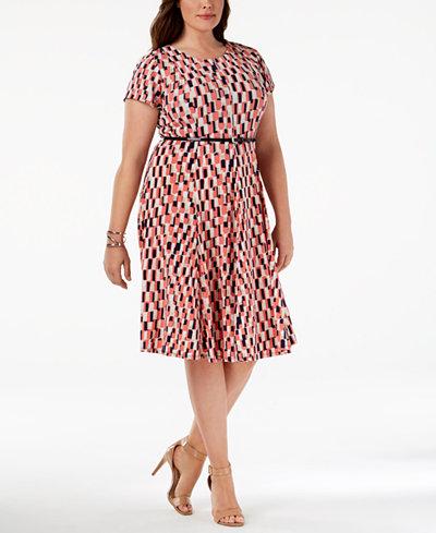 Women's Jessica Howard Geometric Fit & Flare Dress