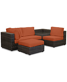 Viewport Outdoor 5-Pc. Modular Seating Set (1 Corner Units, 2 Armless Units, 1 Corner Table and 1 Ottoman) with Custom Sunbrella® Cushions, Created for Macy's