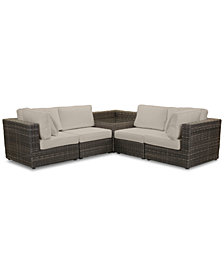 Viewport Outdoor 5-Pc. Modular Seating Set (2 Corner Units, 2 Armless Units and 1 Corner Table), with Custom Sunbrella® Cushions, Created for Macy's