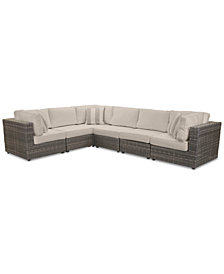 Viewport Outdoor 6-Pc. Modular Seating Set (3 Corner Units and 3 Armless Units) with Custom Sunbrella® Cushions, Created for Macy's