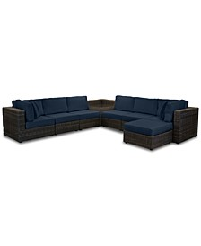 Viewport Outdoor 8-Pc. Modular Seating Set (2 Corner Units, 4 Armless Units, 1 Corner Table and 1 Ottoman) with Custom Sunbrella® Cushions, Created for Macy's