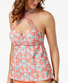Coco Reef Printed Bra-Sized Underwire Strappy Convertible Halter Tankini Top