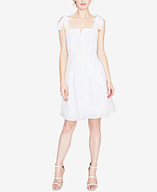 RACHEL Rachel Roy Cotton Eyelet Fit & Flare Dress