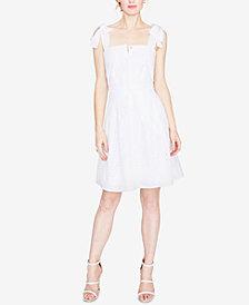 RACHEL Rachel Roy Cotton Eyelet Fit & Flare Dress