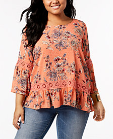 John Paul Richard Plus Size Lace-Trim Top