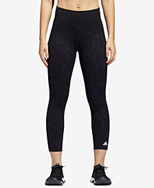 adidas Printed Mesh-Trimmed High-Rise Cropped Compression Leggings