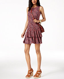 MICHAEL Michael Kors Printed Flounce Dress in Regular & Petite Sizes