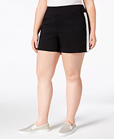 I.N.C. Plus Size Racing-Stripe Shorts, Created for Macy's
