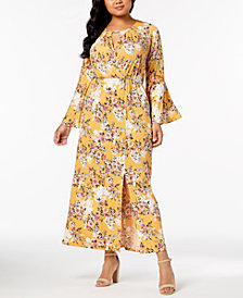 NY Collection Plus & Petite Plus Size Printed Keyhole Maxi Dress