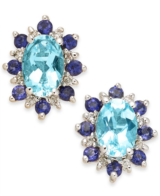 Macy's Multi-Gemstone (1-1/4) & Diamond Accent Stud Earrings in  14k White Gold