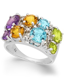 Multi-Gemstone (4-1/5 ct. t.w.) & Diamond (1/10 ct. t.w.) Ring in Sterling Silver