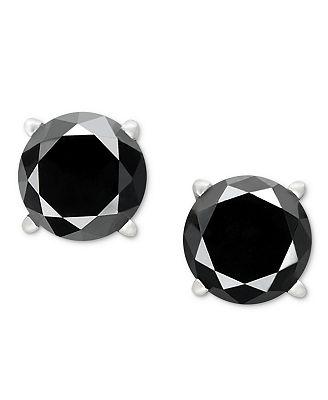 14k White Gold Earrings Black Diamond Stud Earrings 1 ct t w
