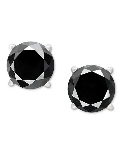 a82300f0b6036 14k White Gold Earrings, Black Diamond Stud Earrings (1 ct. t.w.)