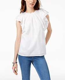 MICHAEL Michael Kors Embroidered-Sleeve Top