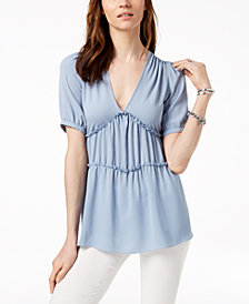 MICHAEL Michael Kors Ruched Top, In Regular & Petite Sizes