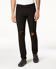Heritage America Men's Slim-Fit Stretch Destroyed Black Jeans