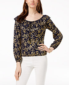 MICHAEL Michael Kors Metallic-Print Peasant Top in Regular & Petite Sizes
