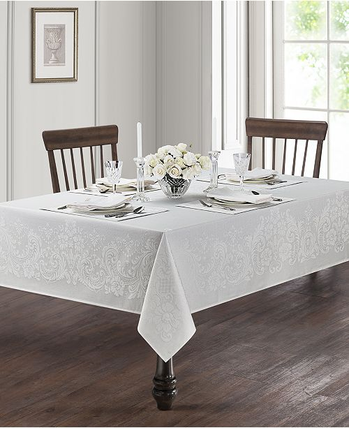 "Waterford Celeste White 70"" x 104"" Tablecloth"