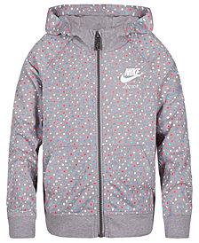 Nike Dot-Print Zip-Up Hoodie, Little Girls