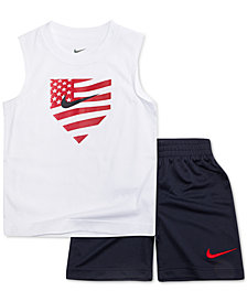 Nike Little Boys 2-Pc. Graphic-Print Muscle Tank & Shorts Set