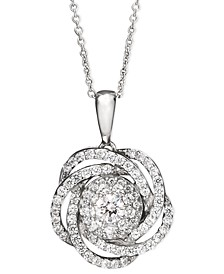 Diamond Knot Pendant Necklace in 14k White Gold (1 ct. t.w.), Created for Macy's