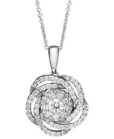 Wrapped in Love™ Diamond Knot Pendant Necklace in 14k White Gold (1 ct. t.w.), Created for Macy's