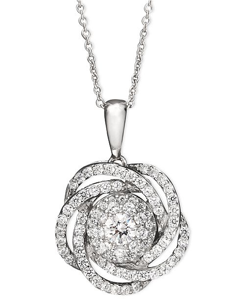 Wrapped in love diamond knot pendant necklace in 14k white gold 1 main image main image aloadofball Gallery